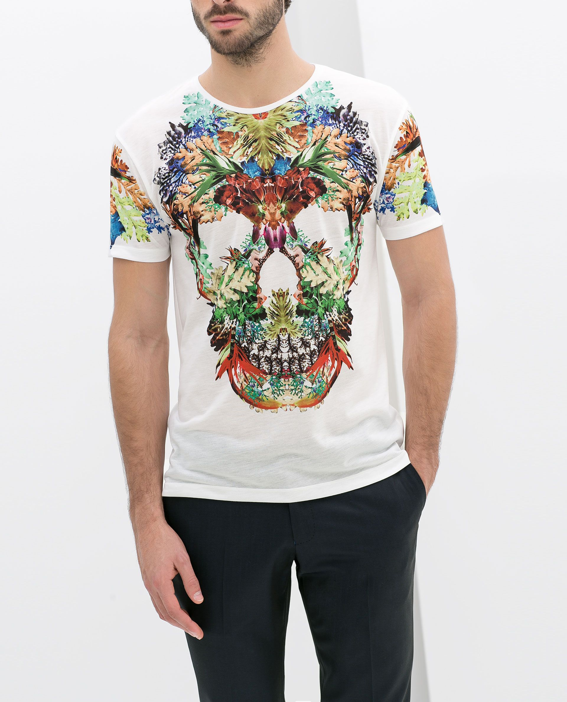 0d5aaaf0c0a SKULL T - SHIRT WITH FLOWERS - T - shirts - MAN