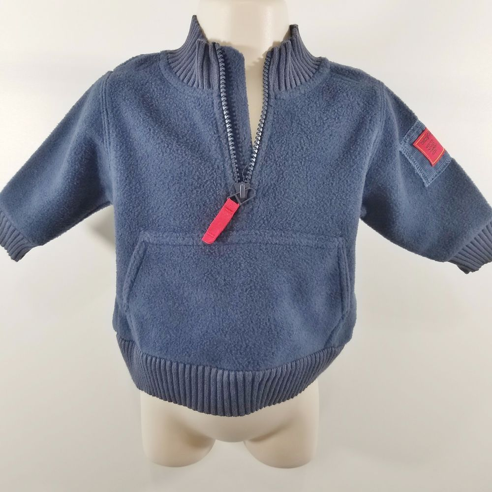f804850fe Baby GAP Boy Size 3-6 Months Blue Gray Sweatshirt 1 3 Zip Soft ...