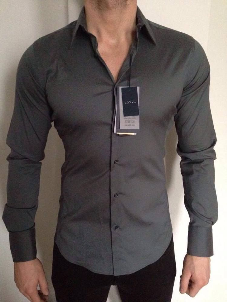 7e024199889d9 ZARA MAN BASIC SUPERSLIM FIT STRETCH GREY SHIRT SIZE M BNWT