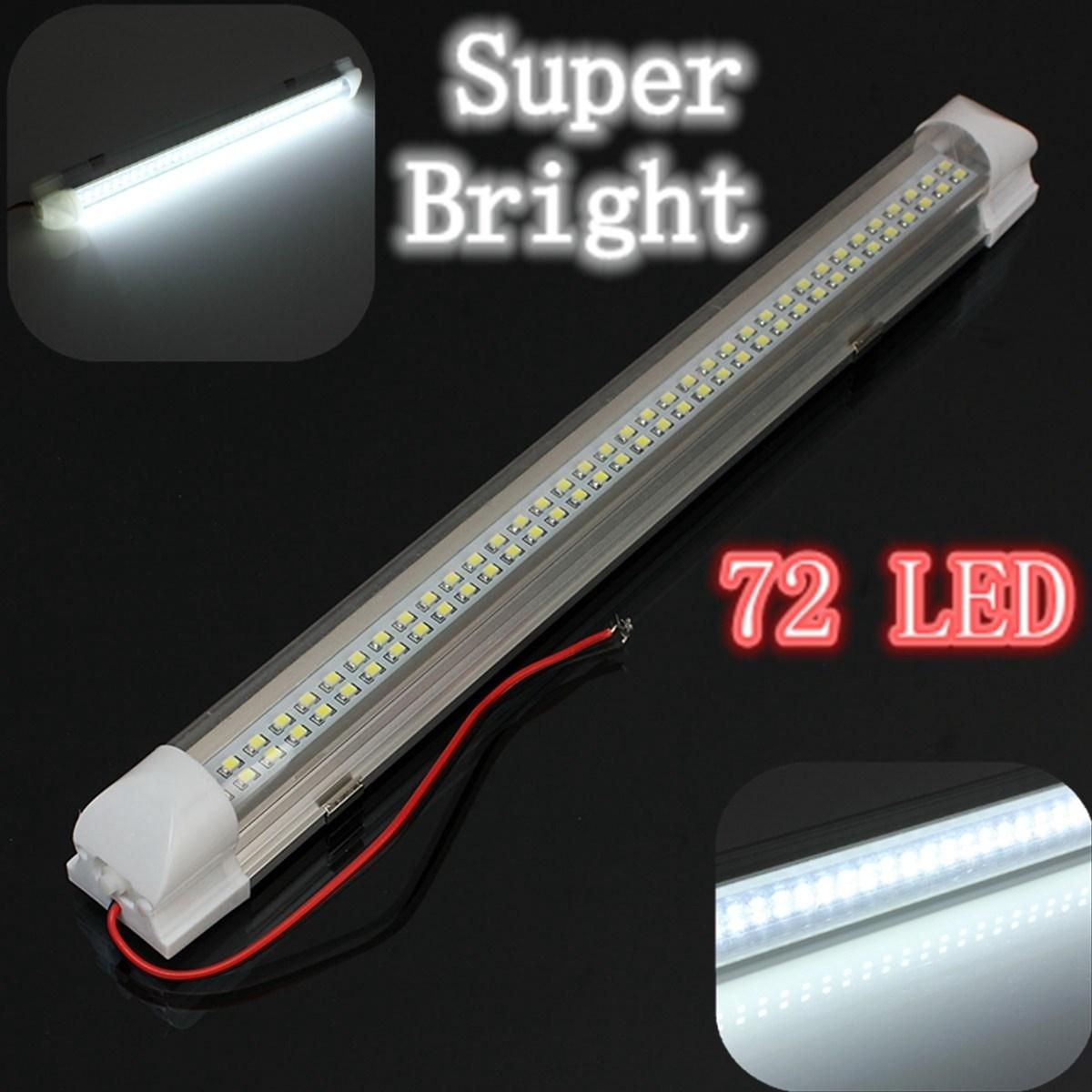 12V 72 LED Car Interior White Strip Lights Bar Lamp Van Caravan ON OFF Switch-UK