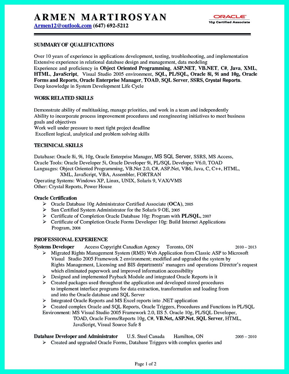 Database developer resume here can be used by