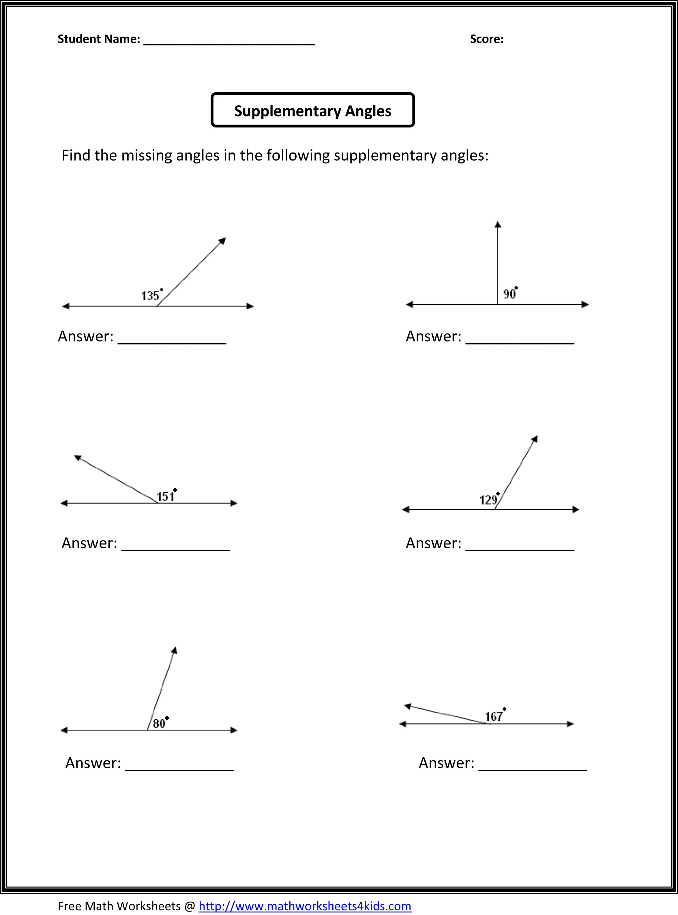 worksheet Angle Worksheets printables complementary supplementary angles worksheet precommunity worksheets stem sheets exam