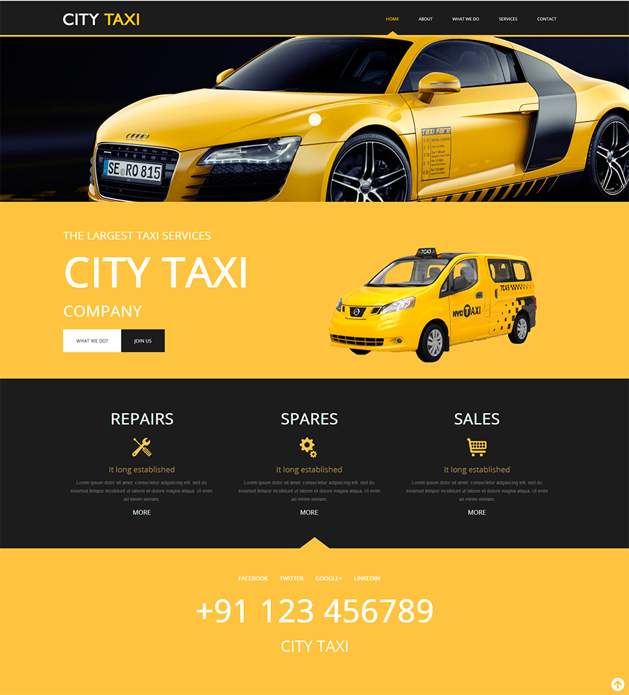 Taxi Service website template, bootstrap website, responsive ...
