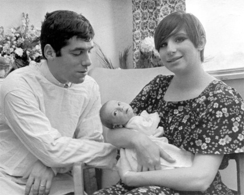 Elliott Gould and Barbra Streisand with baby Jason in early 1967
