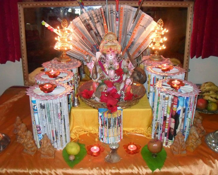 Ganpati Decoration Ideas For Home Decoration Creative And Decorating