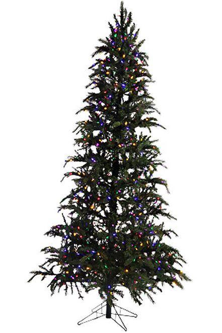 7 5 Led Easy Plug Slim Green Ridge Prelit Artificial Christmas Tree Multicolored Lights Artificial Christmas Tree Christmas Tree Realistic Artificial Christmas Trees