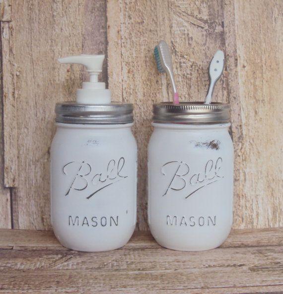 White Distressed Mason Jar Soap Pump and Small Storage Jar, Shabby