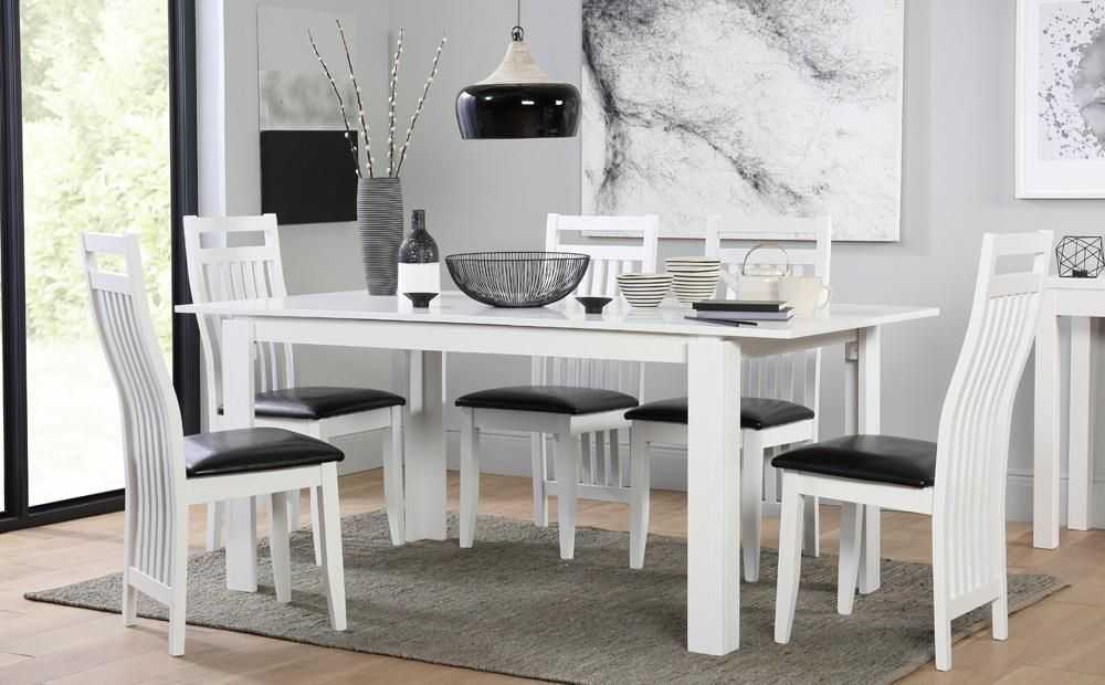 Magnificent Aspen White Extending Dining Table With 6 Java Chairs Machost Co Dining Chair Design Ideas Machostcouk