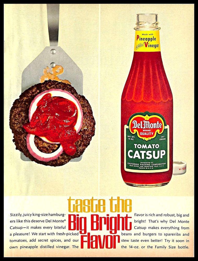 Del Monte Ketchup Kitchen Tomato 1960s Vintage Magazine Ad Print