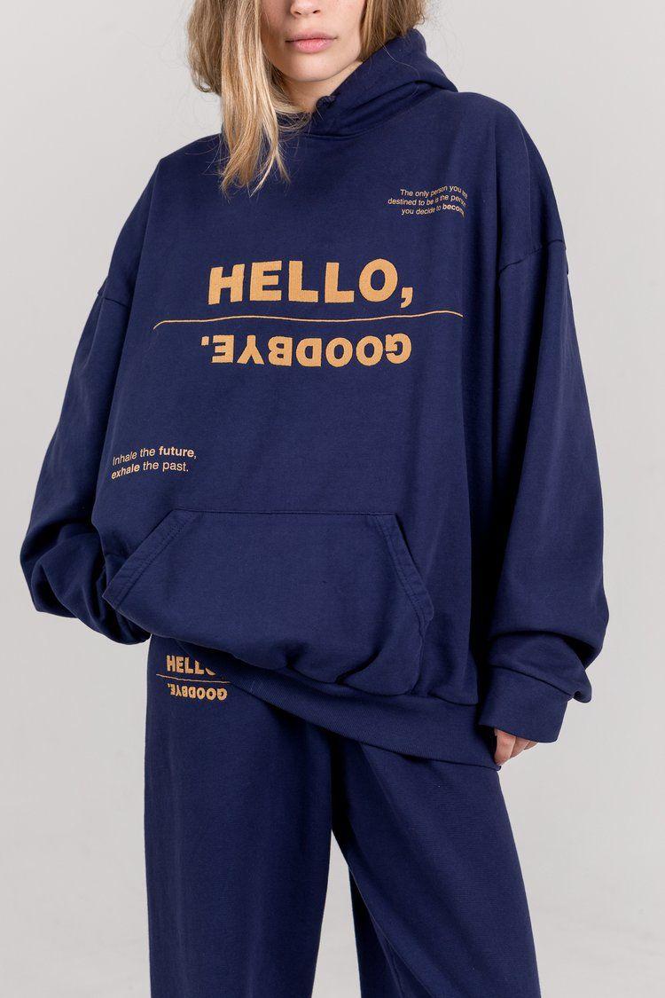 Hello Goodbye The Mayfair Group Llc In 2021 Navy Hoodie Hoodies Sweatshirts [ 1125 x 750 Pixel ]