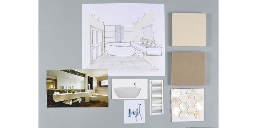 Bathroom design board - Interior Design Module Three Short Course Portfolio, by Suzanne Cook