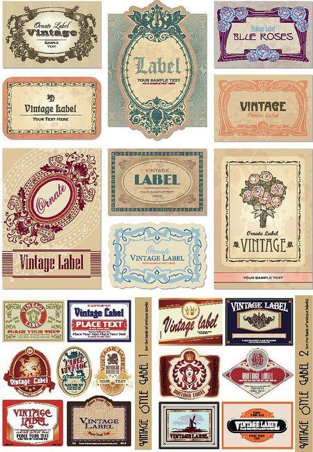 アンティークなラベル素材が2set コラージュ スクラップブッキングに Vintage Labels Free Vintage Printables Vintage Printables