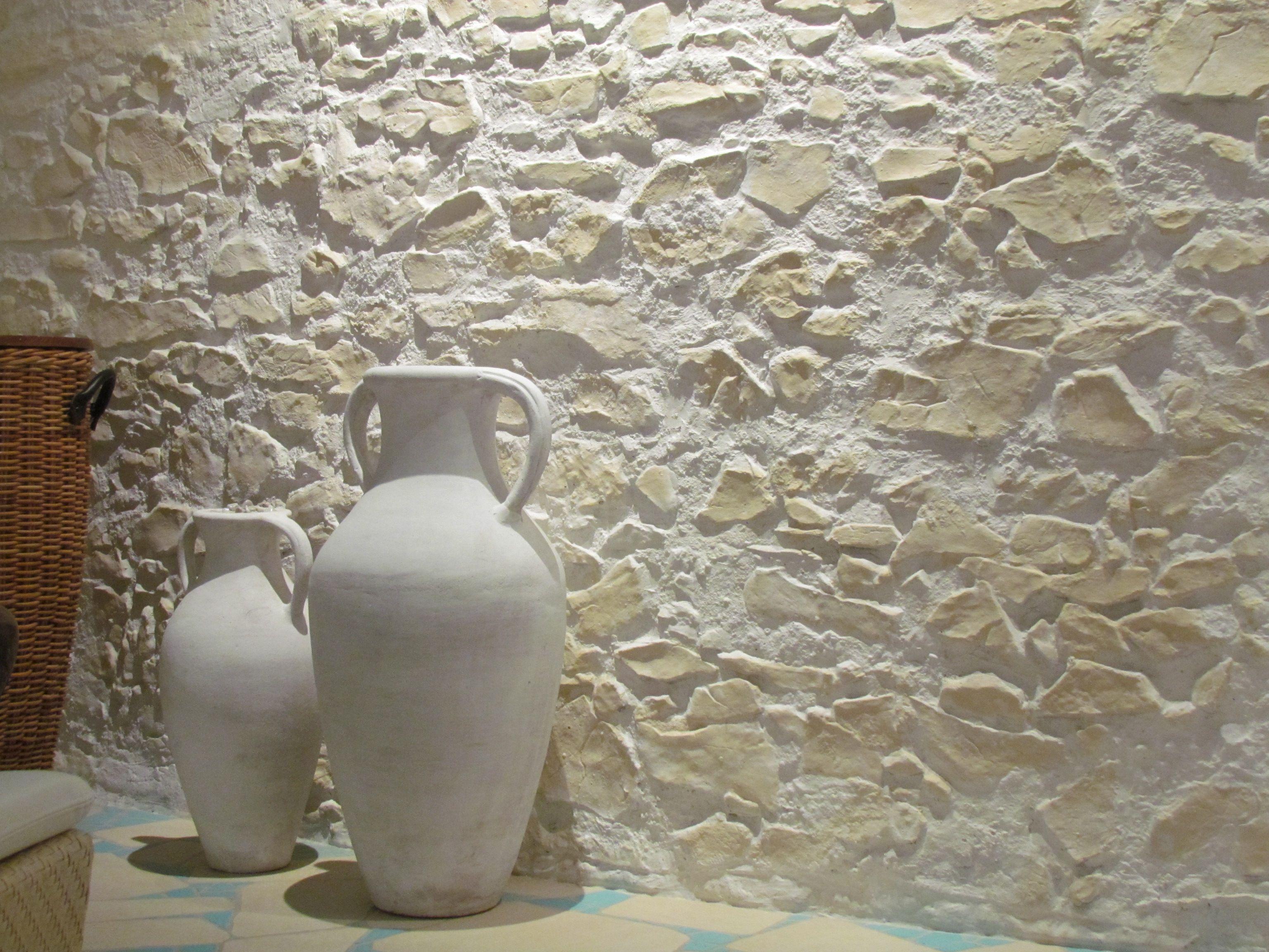 Greek decoration with stone wall marsalla on aida sol wellnessarea s in stonedesign - Steinwand styropor ...