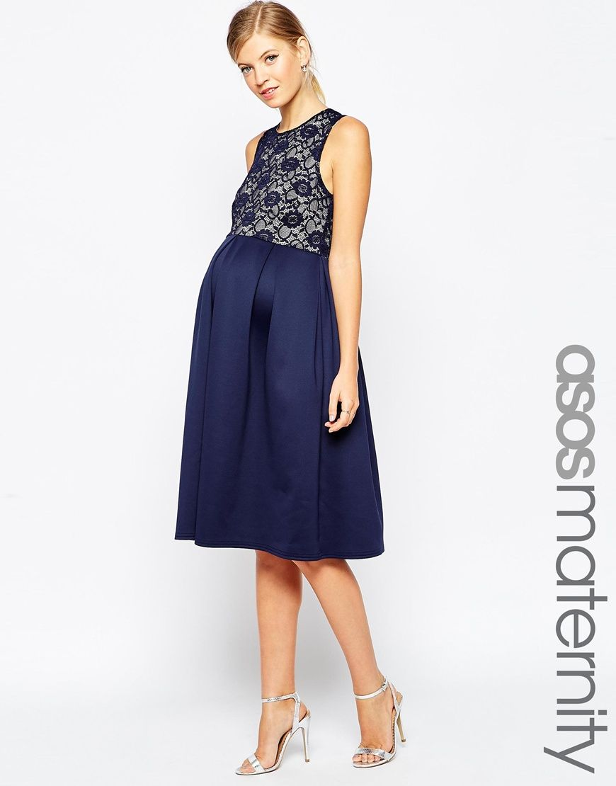 Maternity casual wedding dress  ASOS Maternity Lace Top Scuba Skater Midi Dress  Maternity wear