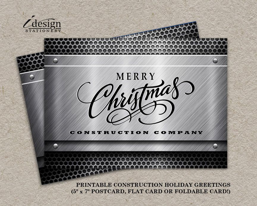 Construction Business Christmas Cards With Logo By iDesignStationery ...