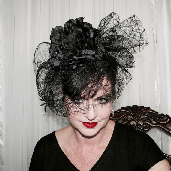 SPIDERWOMAN Black Spiders Fascinator Style Headband Veil Hair Adornment #fascinatorstyles