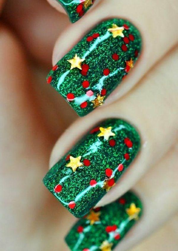 nagel design bildergalerie nail art weihnachten grün gold sterne ...