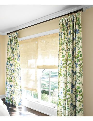 Drapery with Natural Woven Waterfall Shades