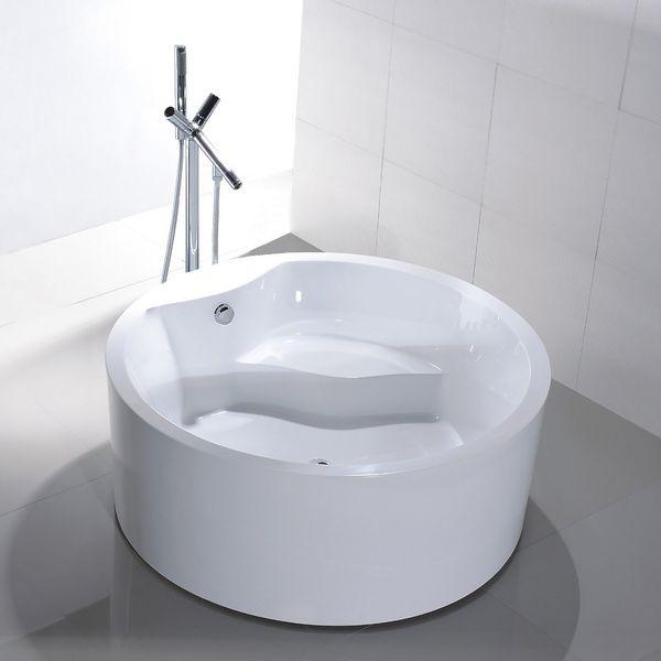 Vanity Art Freestanding 59 Inch Round White Acrylic Bathtub