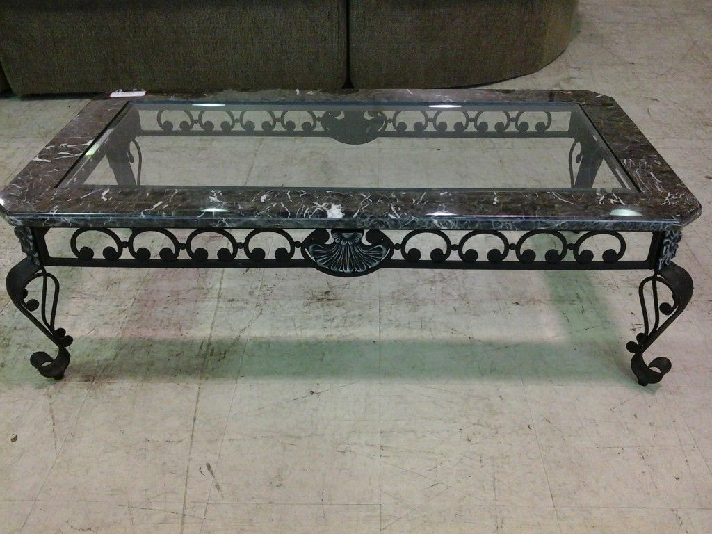 Glass Top Marble Coffee Table Coffee Tables Furniture Iron
