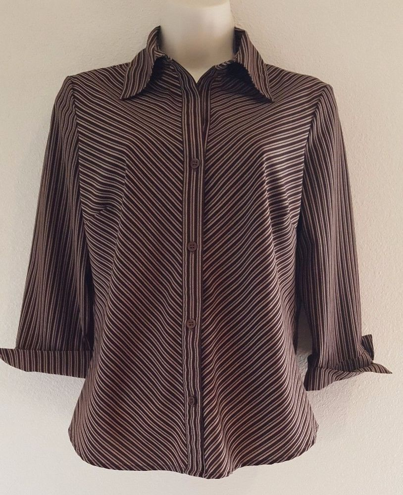 d69ac592aec36 NOTATIONS Women s Brown Tan stripe Button Front 3 4 Sleeve Top ...