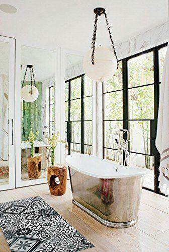 Tapis Motifs Carreaux De Ciment Gris Noir 120x50cm Toodoo - antiderapant salle de bain
