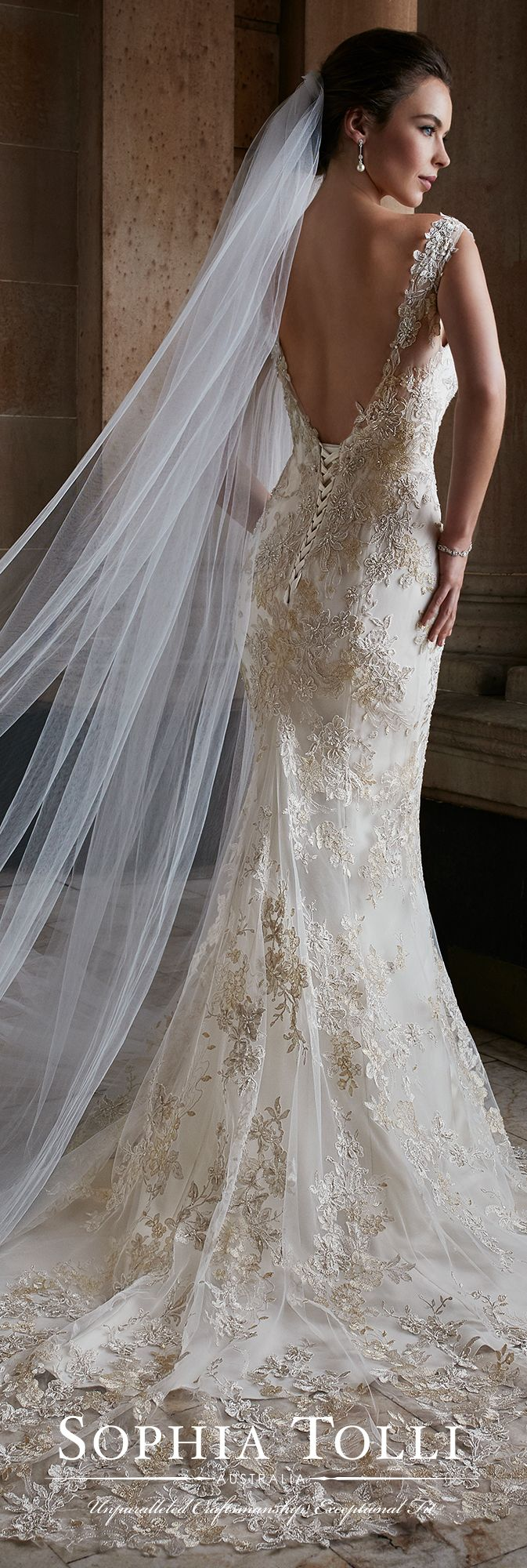 Sleeveless lace fit & flare open back wedding dress - Sophia Tolli ...