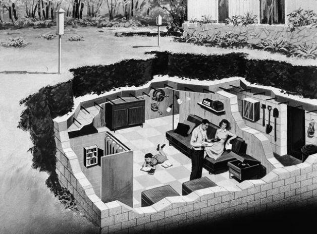 Backyard Fallout Shelter swanky 60s backyard fallout shelter rendering | modern science