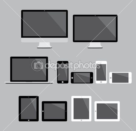 $12 - Big set of flat modern electronic devices vector illustration — Stock Illustration #32335509