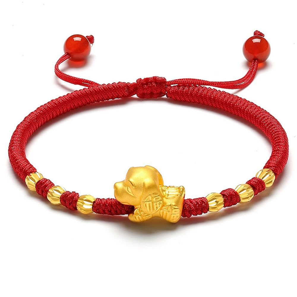 New k yellow gold bracelet womanus d fine fu dog link lucky