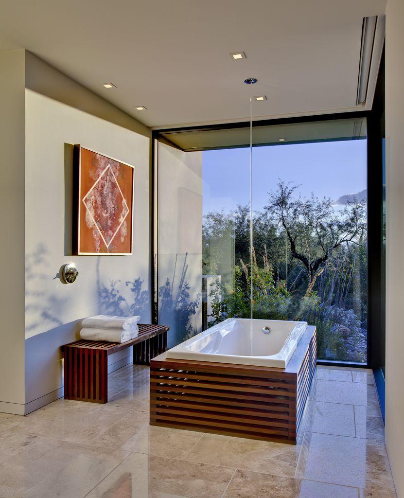 Modern desert home, master bath with custom tub surround