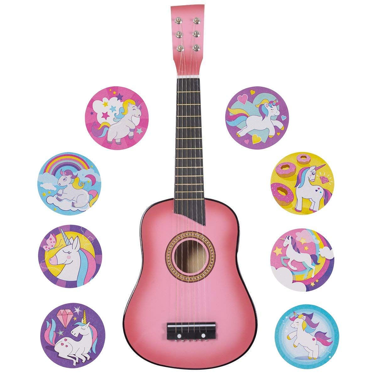 Amazon Com Pink Guitar For Kids 25 Acoustic Beginners W 100 Unicorn Stickers Garden Outdoor Pink Guitar Guitar Kids Pink