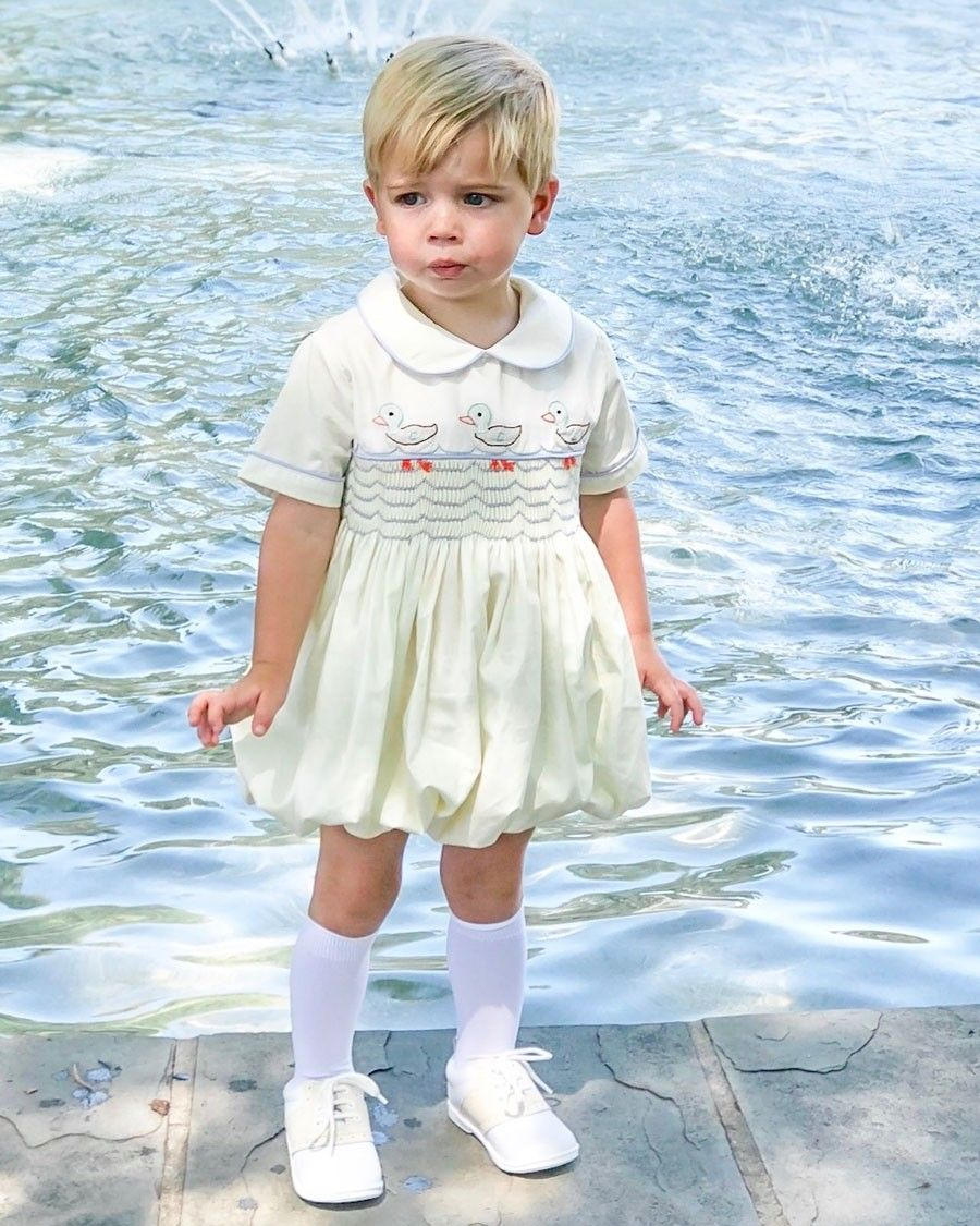 baaa0a963 Ducks Shadow Embroidered Cream Bubble for Boy. This isn't a skirt or dress  but it looks like one.