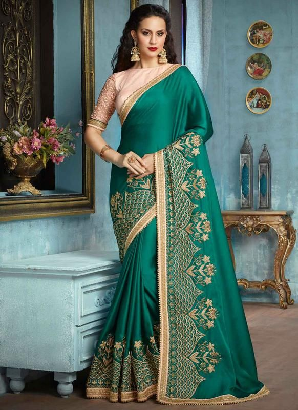 ab6bcf0bc706c7 Discover the latest in stunning designer saree online. Buy this titillating  embroidered, patch border and resham work satin silk designer traditional  saree.