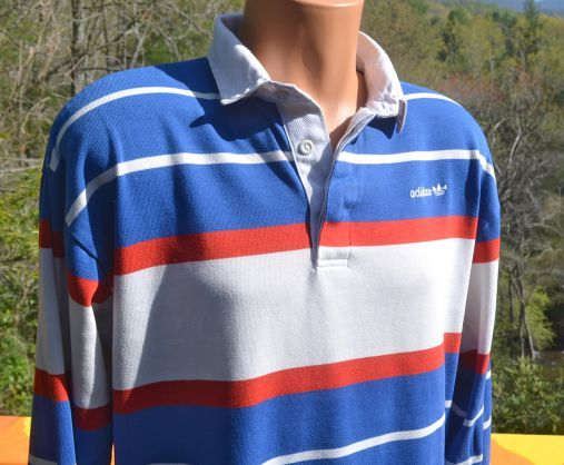 Vintage 80s Rugby Shirt Adidas Trefoil Long Sleeve Polo Large Xl 90s Red White Blue Authentic