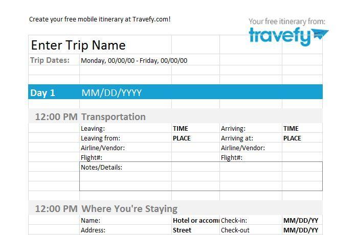 30 Itinerary Templates Travel Vacation Trip Flight Travel