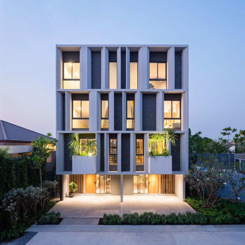 A Contemporary 3 Storey Townhome In Bangkok Thailand Modern Townhouse Facade Architecture Townhouse Designs
