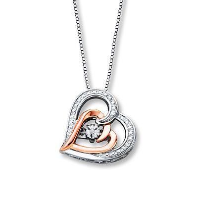 Diamonds In Rhythm Heart Necklace Sterling Silver 10k Gold Heart Necklace Diamond Heart Necklace Kay Jewelry