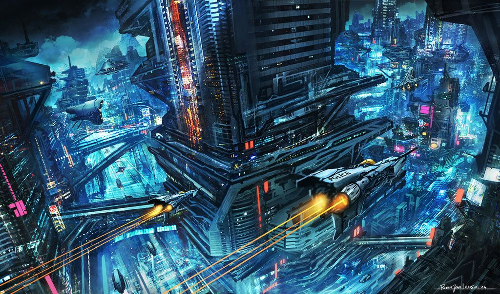 fuckyeahcyberpunk Scifi Night City by RobinTran (With