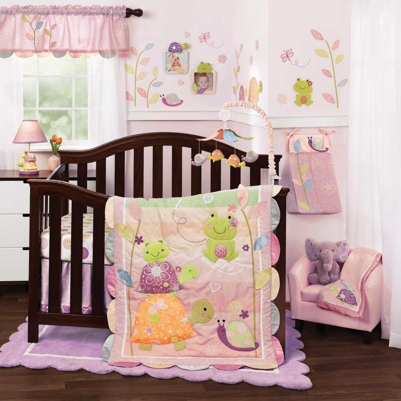 Pond Animals Turtles And Frogs With Floral Baby Girls 4 Piece Crib