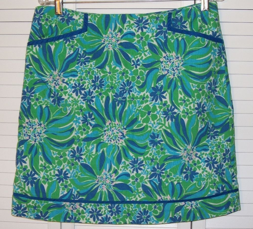 Lilly Pulitzer Originals Skirt Size 8 Blue Green Floral Flowers Pink Linen Look #LillyPulitzer #ALine