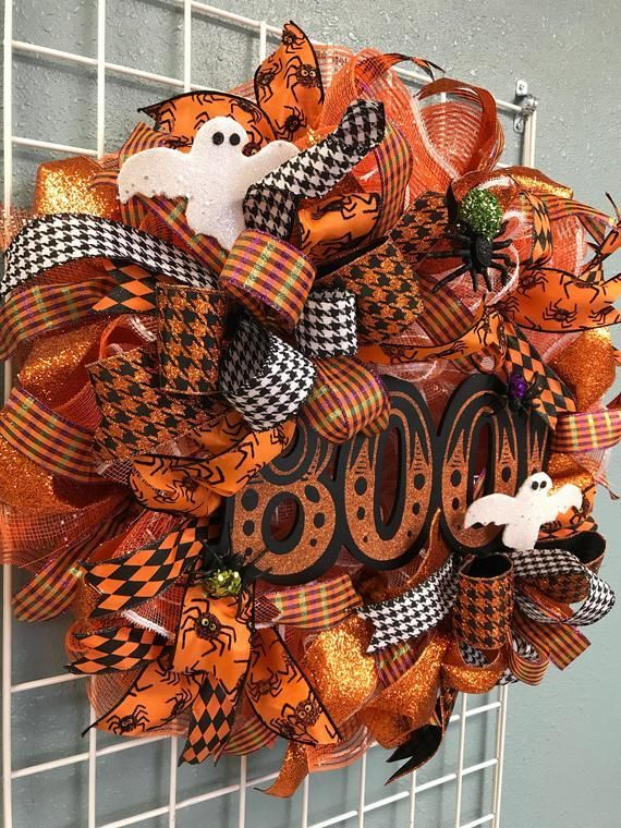 Boo Halloween Wreath, Ghost Wreath, Deco Mesh Wreath, Front Door Decor, Halloween Decor