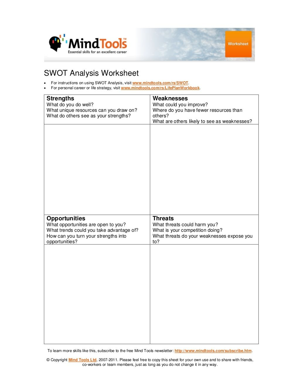 Swotysis Worksheet For Instructions On Using Swot