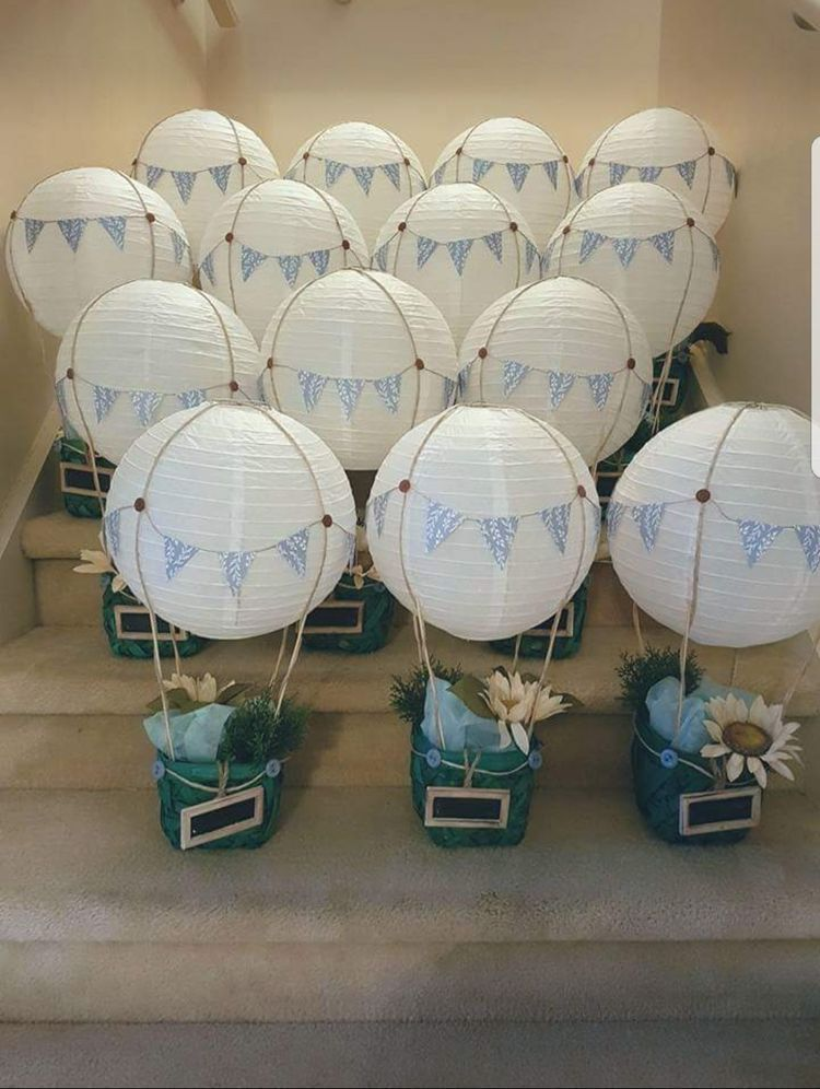 Hot Air Balloon Center Pieces Baby Shower Balloons Baby Shower