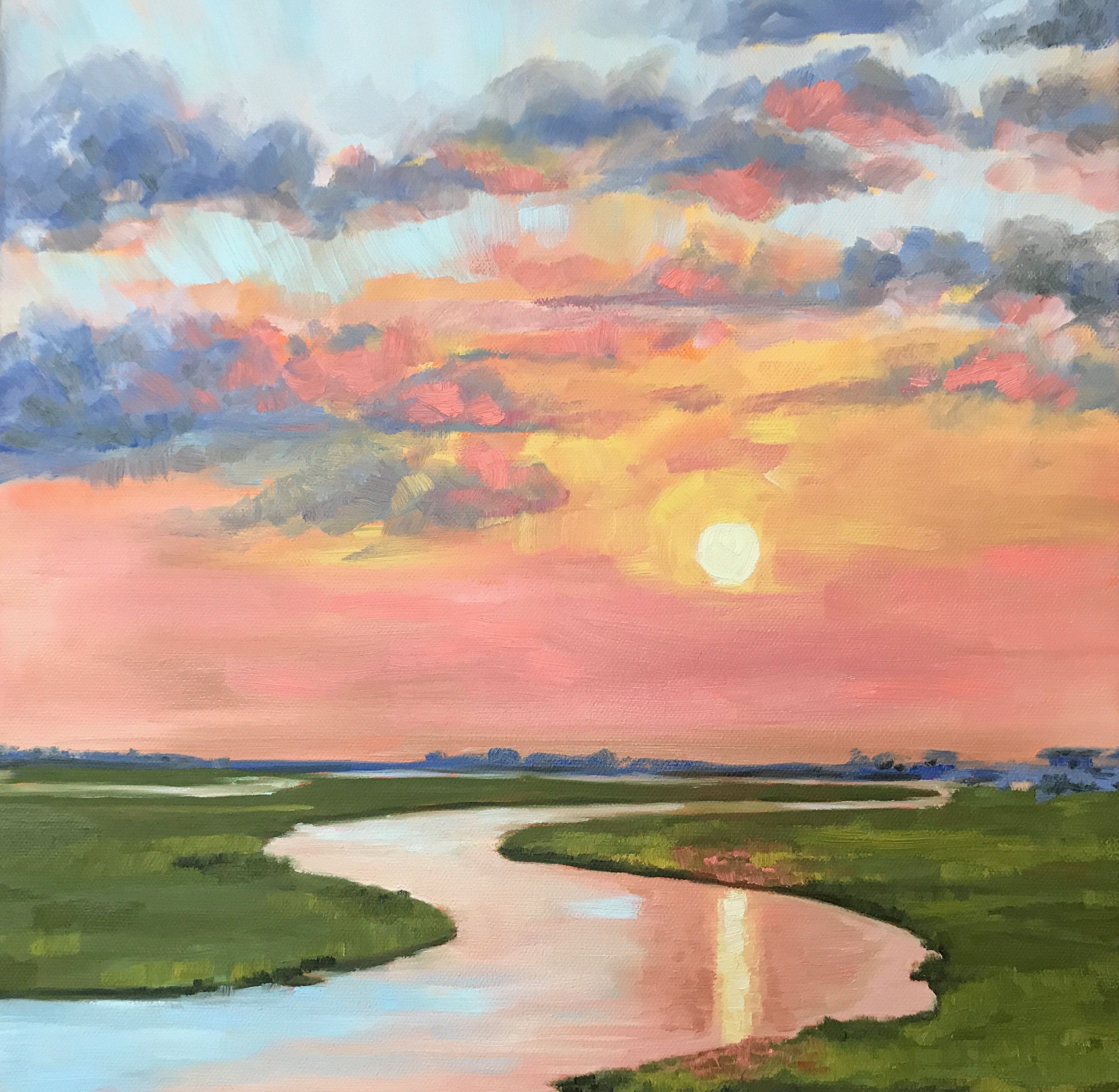 Sunset In The Lowcountry Large Coastal Marsh Landscape Painting By Contemporary Impressionist April Moffatt In 2020 Square Painting Coastal Marsh Landscape Canvas Art