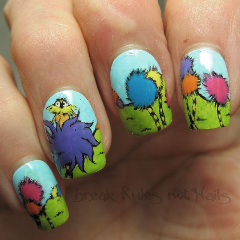 Inspired By The Dr Seuss Book The Lorax Painted With Nail Polish