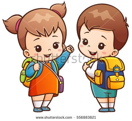 vector illustration of cartoon kids going to school