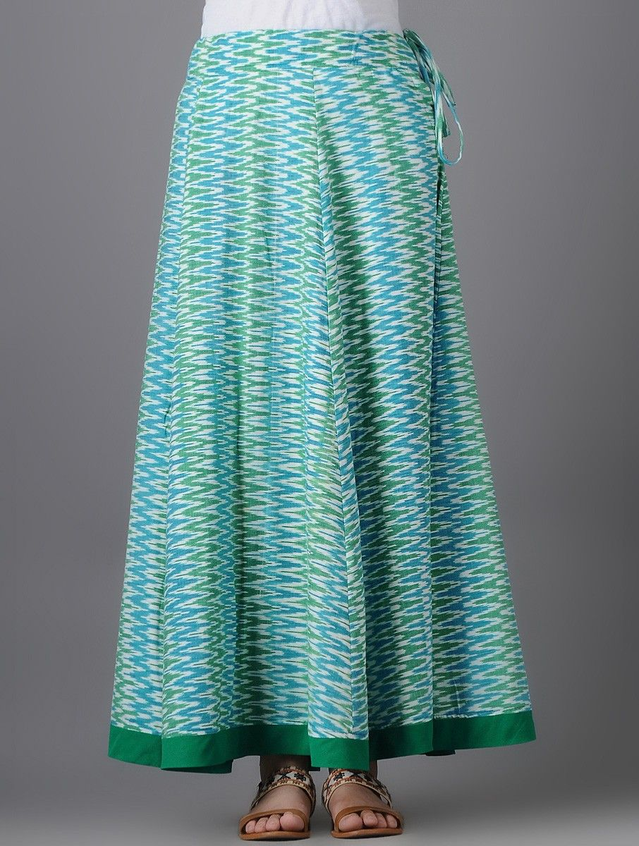 Buy Blue Green Ivory Tie up Waist Ikat Cotton Skirt Women Skirts A New Spin on Tops dresses tunics with interesting design details Online at Jaypore.com