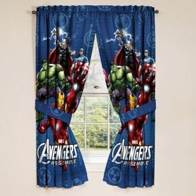 Marvel Avengers Assemble Window Panels Curtains Drapes Set Of 2 In
