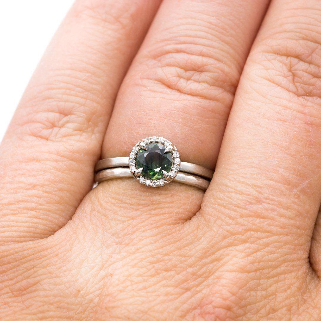 Teal Blue/Green Sapphire & White Diamond Halo White Gold
